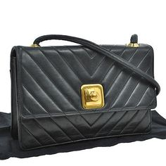 Auth-CHANEL-Quilted-CC-Logos-Shoulder-Bag-Black-Leather-Vintage-France-AK07539