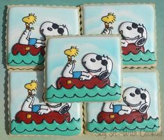 Snoopy Swimming Party Favors, hand decorated sugar cookies
