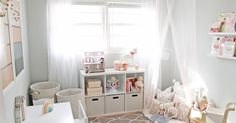 A dreamy little girl playroom with lots of storage, pretty blush details and tons of ideas for a small-but-functional play space.