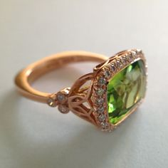Dalben Peridot Diamond Rose Gold Ring | From a unique collection of vintage fashion rings at http://www.1stdibs.com/jewelry/rings/fashion-rings/
