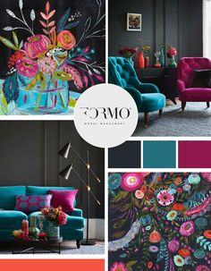 Bold, modern, eclectic look for this moodboard design. With an overall feminine appeal, the contrast of colors with orange, teal, and magenta bring to life that charcoal gray giving it a totally different vibe. Plus, I'm loving the floral paintings! Design by Savannah Peer at Infinite Reach Media.