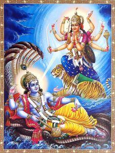 Lord Vishnu and Durga Devi Shiva Parvati Images, Lakshmi Images, Lord Krishna Images, Shiva Shakti, Durga Maa, Kali Hindu, Shiva Art, Krishna Art, Hindu Art