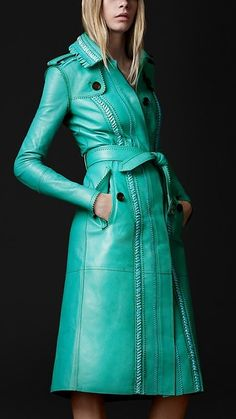 Have loved this leather trench, especially since it has a bright red lining,