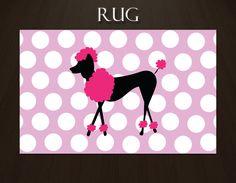 Poodle Rug, Pink Polka Dot Rug, Girls Area Rug, Pink Kids Rug,