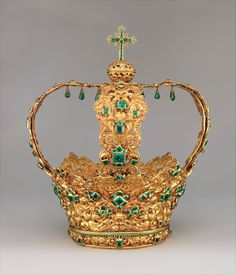 Emerald & Gold Crown of Andes, 1660! #Crown #Antique #Bling