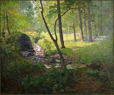 """'Brandywine Hill' country - """"The Brook - Summer"""" by N. Wyeth by Plum leaves Jamie Wyeth, Andrew Wyeth, Landscape Art, Landscape Paintings, Nc Wyeth, Photo Animaliere, Paintings I Love, Paintings Famous, Art Paintings"""