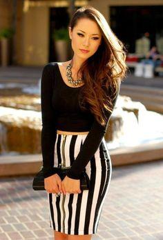 Black & White Strips Skirt