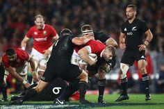 George Kruis of the Lions tries to escape from a sandwich of Joe Moody (left) and Kieran R. British And Irish Lions, Don T Lie, All Blacks, Rugby Players, New Zealand, Two By Two, Sports, Awesome, Hs Sports