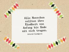 Sprüche & Slogans - Zitat Lindgren: Kindheit mit sich tragen / Stempel - ein…