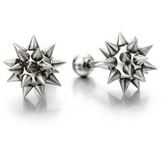 Sleek Silver Stainless Steel Spike Studded Star Hammer Screw Stud... ($23) ❤ liked on Polyvore featuring jewelry, earrings, spike stud earrings, star stud earrings, oxidized silver jewelry, silver earrings and star jewelry