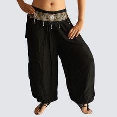 Black Oriental Decorated Harem Pants - Yoga Pants - Model P58 - Oriental Fashion #http://www.pinterest.com/OGfashion/