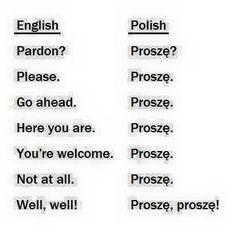 Lol, so many uses for proszę ! Polish Alphabet, Polish To English, Learn Polish, Polish Words, Polish People, Polish Memes, Polish Language, Lol, Polish Recipes