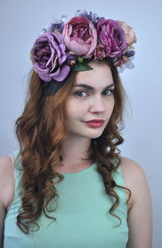 410 best flower crown silk flowers images on pinterest flower violet purple flower crown headpiece flower headband mightylinksfo