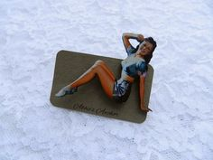 Vintage 1950's Pin Up Girl Wood Brooch by AbbiesAnchor on Etsy