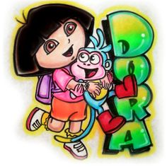 Dora the explorer and boots  airbrushed tshirt by 1stopairbrush.com , $12.00