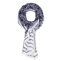 Sandwich Clothing Mini Print Border Scarf - Blue
