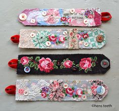 Sewn, floral fabric cuff bracelets, from Hens Teeth Art. Fabric Bracelets, Bracelets For Men, Cuff Bracelets, Bijoux Wire Wrap, Bijoux Diy, Jewelry Crafts, Jewelry Art, Handmade Jewelry, Textile Jewelry