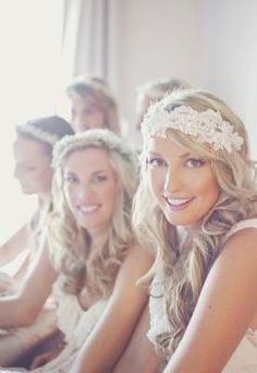 Headband type wedding crowns for the bride and bridesmaids.