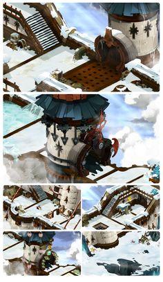 Concept art, tiles, bg Frigost Muraille DOFUS ANKAMA
