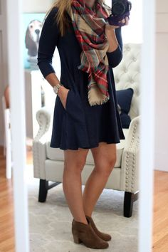 My September Stitch Fix... For Less!  RD Style Pocket Swing Dress & Fall Plaid Scarf with Steve Madden Ankle Booties