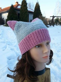 Pussy Hat Pink Cat Hat Gray Messy Pony Beanie Teen Cat Hat Messy Bun Beanie Pussy Bun Hat Cat Ear Beanie Women/'s hat Gray Pussy Hat Kitty.