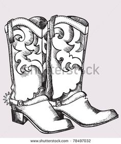 Cowboy boots .Vector graphic image of shoes for cowboy life by Tancha, via ShutterStock