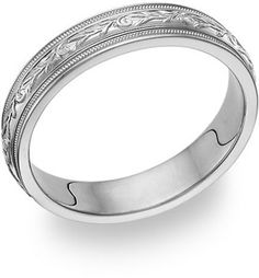 14K White Gold Paisley Wedding Band Ring