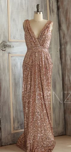 Today Only! Bridesmaid Dress Rose Gold Sequin Dress,Wedding Dress,Metallic Sparkle Evening Dress,Luxury V Neck Party Dress,Ruched Maxi Dusty Blue, Sequin Wedding, Gold Wedding, Dress Wedding, Wedding Vintage, Handmade Wedding, Rose Gold Sequin Dress, Glitter Dress, Swatch