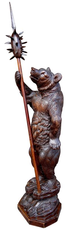 Monumental 19th Century Black Forest Carved Standing Bear Brienz image 2