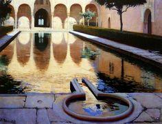 """""""El patio de la alberca (Granada)"""", 1895, óleo sobre lienzo, 74 x 96 cm, colección particular."""