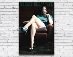 Vintage Playboy Inspired Pin Up Photo. Sexy model posing in a brown leather chair.  Sweater Girl by VelvetDeCollete Gifts for men