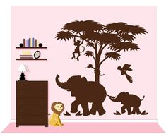 Large Silhouette Safari 2 Paint by Number Wall Mural  rosenberryrooms.com