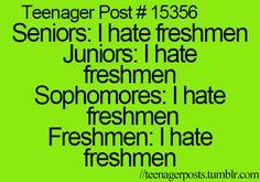 Teenager Post ~ Seniors: I hate freshmen Juniors: I hate freshmen Sophomo… - Memes And Humor 2020 High School Funny, Funny School Stories, Hate School, School Life, Teenager Quotes, Teen Quotes, Funny Quotes, Teen Sayings, Teen Posts