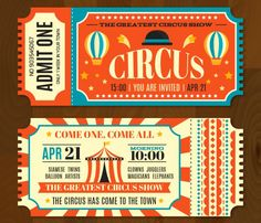 Circus tickets in vintage style Free Vector Carnival Tickets, Carnival Posters, Circus Carnival Party, Circus Theme Party, Party Tickets, Circus Poster, Carnival Themes, Circus Birthday, Vintage Carnival