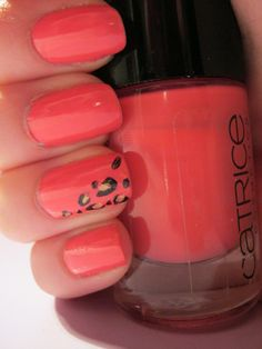 coral nails with leopard print by lilly.winters.31