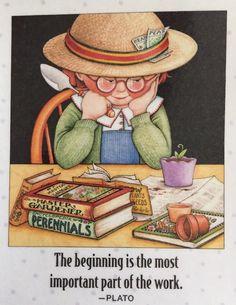 Handmade Fridge Magnet-Mary Engelbreit Artwork-The Beginning