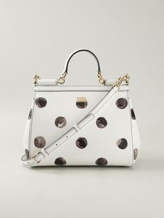 White and black leather 'Sicily' tote from Dolce & Gabbana