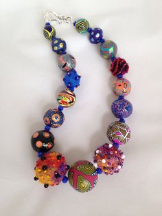 necklace of paper mache beads painted. by beadunsupervised on Etsy Paper Bead Jewelry, Paper Earrings, Paper Beads, Jewelry Crafts, Beaded Jewelry, Beaded Necklaces, Jewellery, Handmade Beads, Handcrafted Jewelry