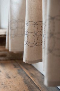 Sashiko embroidery tutorial - makes such a pretty border for kitchen towels!