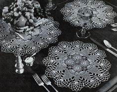 Pineapple Round Luncheon Set crochet pattern from Pineapples on Parade, Clark's O.N.T. J. Coats, Book No. 241, in 1948.