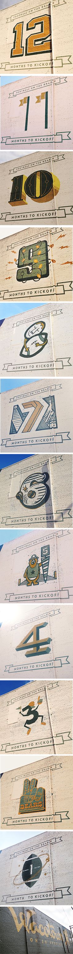 The Wacotown Countdown existed to promote downtown Waco, Baylor's new McLane Stadium, and the upstart design community here in Waco. They set out to paint a monthly countdown at 4th and Franklin. Each month, a different designer designed a number, then painted over the previous month's number. Twelve months of custom numbers by different designers, all pointing toward the first kickoff in the new stadium.