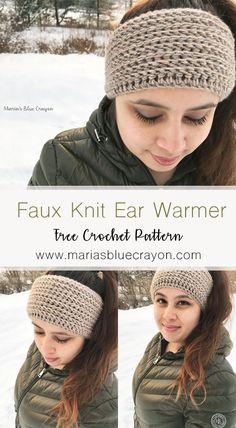 Faux Knit Ear Warmer   Free Crochet Pattern   Easy Crochet Ear Warmer   Maria's Blue Crayon