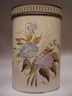 Vintage Tole Toleware Hand Painted Metal Waste Trash Can Basket