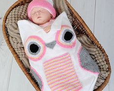 Baby Knitting Pattern Owl Cocoon Papoose Hat Knitting by shifio Baby Knitting Patterns, Pattern Baby, Baby Patterns, Crochet Patterns, Crochet Baby Cocoon, Crochet Bebe, Knit Crochet, Blanket Crochet, Crochet Flower