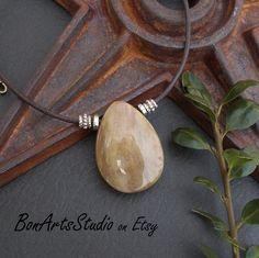 Petrified Wood Pendant Necklace Natural Tan Stone on Custom | Etsy