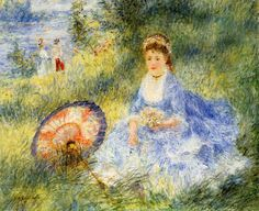YOUNG WOMAN WITH JAPANESE UMBRELLA (1876) by Auguste Renoir | Impressionism | Oil on canvas