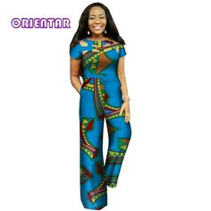 Fashion African Wax Print Hollow Jumpsuit for Women Bazin Riche Cotton Dashiki Jumpsuit African Style Clothing African Dashiki Dress, Latest African Fashion Dresses, African Dresses For Women, African Clothes, African Women, Traditional African Clothing, Traditional Outfits, Maxi Skirts For Women, Spring