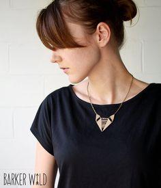Geometric Fox tribal leather Pendant, Aztec jewelry, fox pendant, leather bronze chain necklace, tribal pattern, tan leather animal pendant