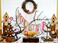 'Love Birds' Bridal Shower- Love the wooden cupcake display