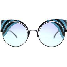 b223ae1be0d Fendi Hypnoshine FF 0215 0LB Matte Turquoise Cat-Eye Metal Sunglasses  (38325 RSD)